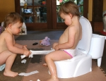 Addi and Cassi Learning Potty Training